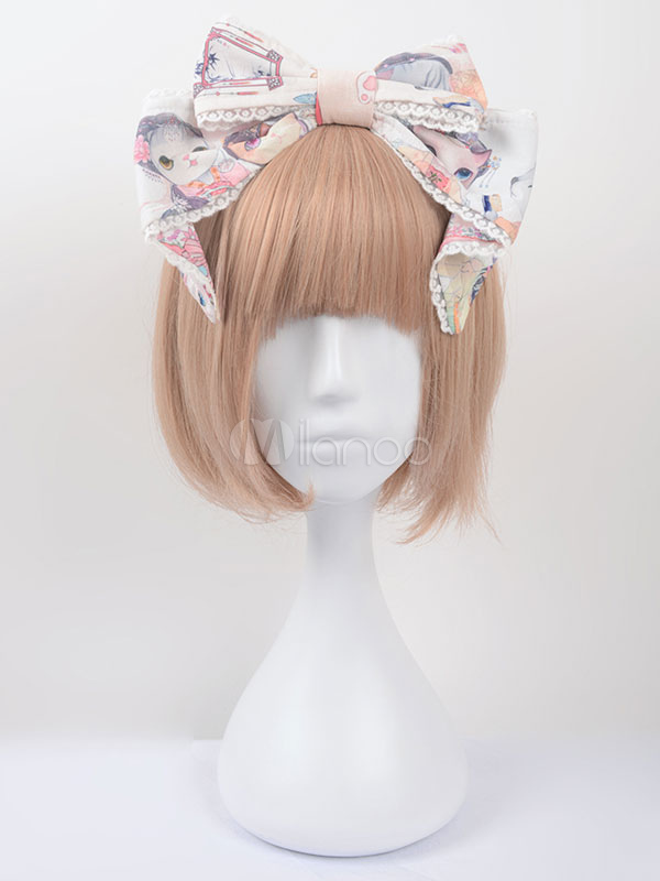 Buy Sweet Lolita Headband Cute Chinese Style Circus Cats Print Cotton Milanoo Lolita Hair Bow Lolita KC With Lace Trim for $31.27 in Milanoo store