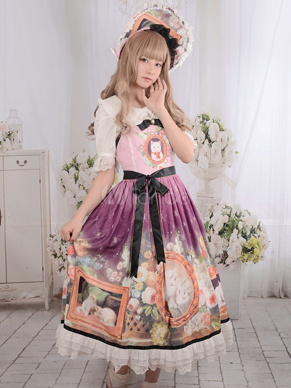 Buy Robe Sweet Lolita Vintage Cats Floral Print Long Milanoo Lolita Dresses Lace Black Ribbon Bow Lolita Jumper Skirt With Ruffles for $154.79 in Milanoo store