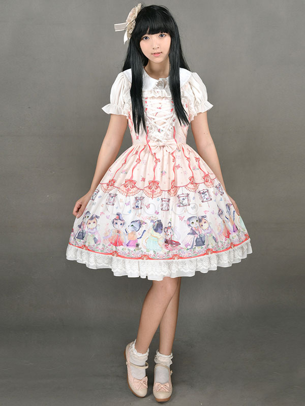 Cute Lolita Dress Sweet Lace Up Chinese Style Circus Cats