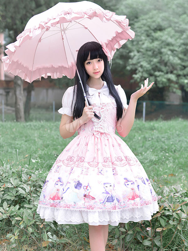 Buy Cute Lolita Dress Sweet Lace Up Chinese Style Circus Cats Print Milanoo Cute Lolita Jumper Skirt With Cross Strap for $154.79 in Milanoo store