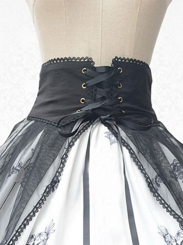 Gothic Lolita Dress Vintage Lace Up Church Printed Milanoo Gothic Lolita Skirt With Chiffon Overskir