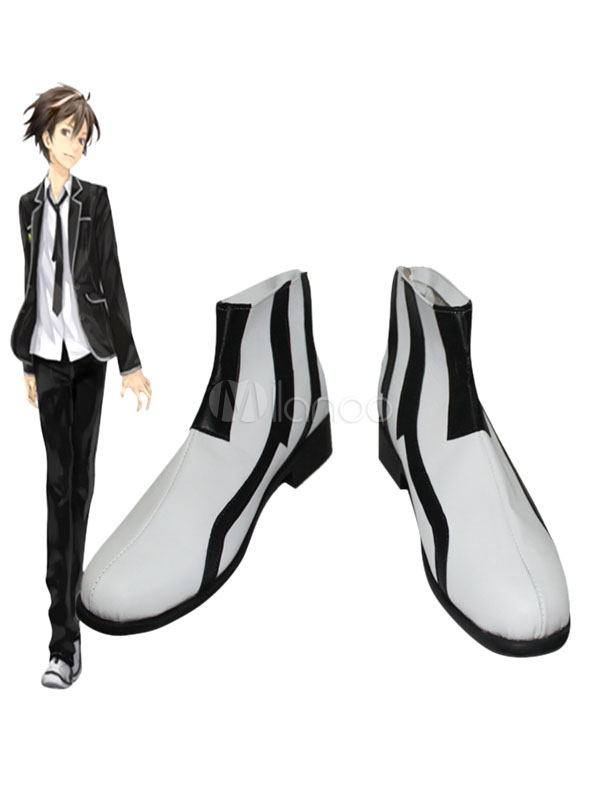 Buy Guilty Crown Ouma Shu Cosplay Shoes White Stripe Halloween Ankle Boots Halloween for $47.83 in Milanoo store