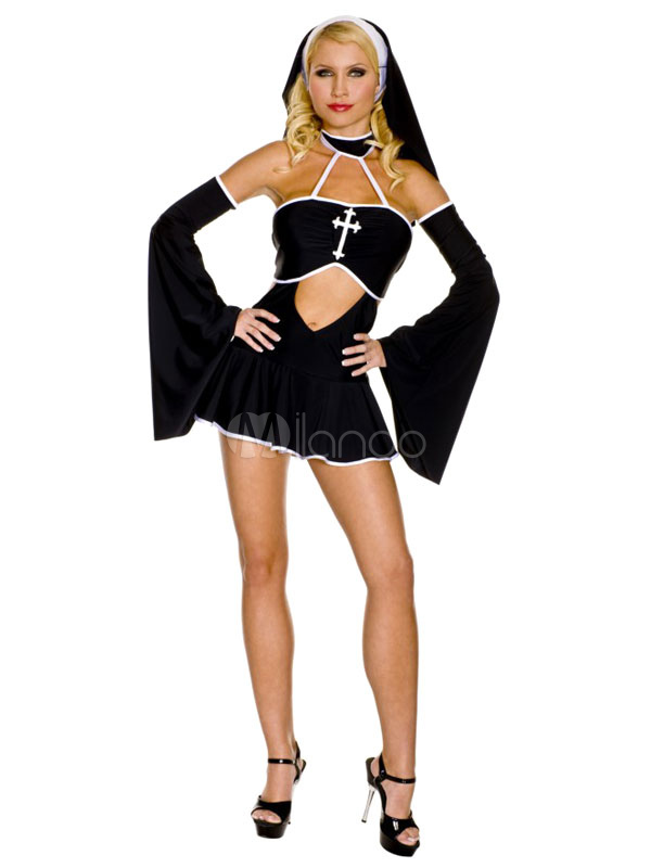 f800c73666 Halloween Sexy Nun Costume Armwear Cut Out Ruffed Short Dress In Set  Halloween - Milanoo.com