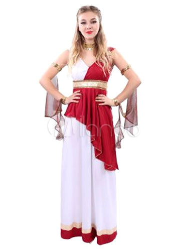 Fantasia De Deusa Grega Vestido Extravagante Roupa Vermelha Halloween Feminino