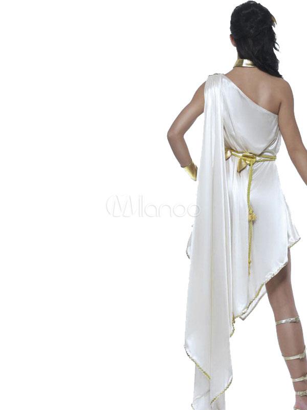 Karneval Halloween Kostüm griechische Göttin weiß asymmetrische ...
