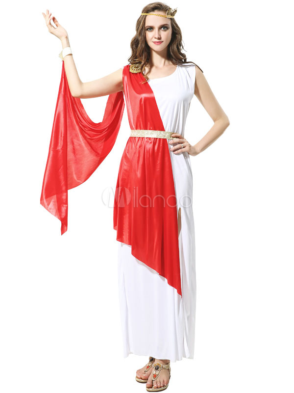 Deusa Grega Halloween Traje Sexy Vestido Vermelho Definido Para As Mulheres