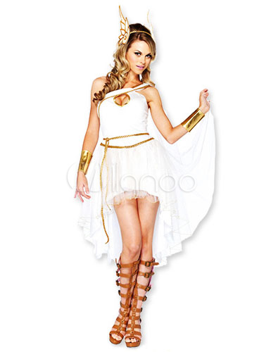 Buy Halloween Greek Goddess Sexy Costume Women's White High Low Dress With Wing Headgear Halloween for $38.99 in Milanoo store