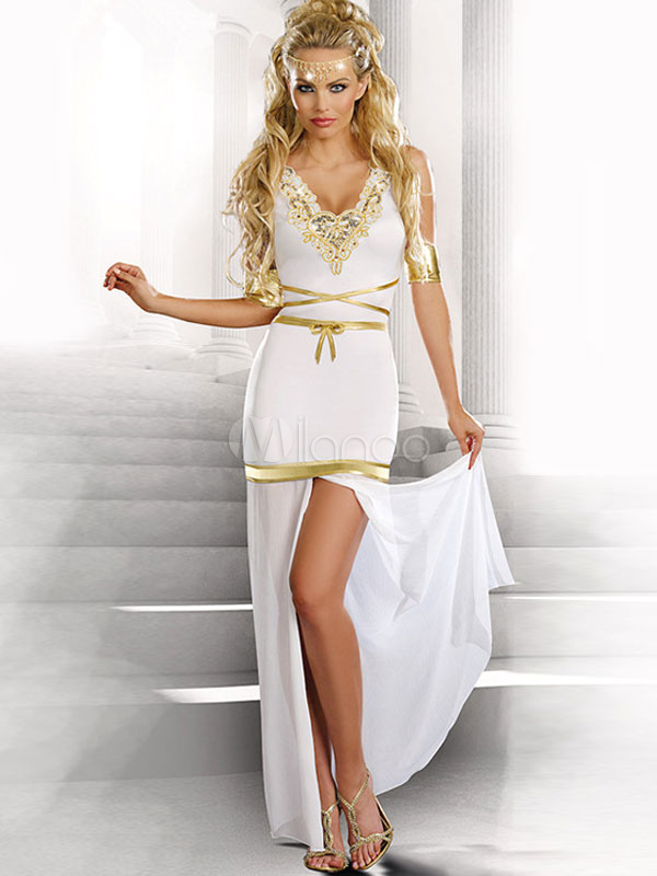 Buy Halloween Costume Greek Goddess White Sleeveless Slit Outfit Halloween for $29.99 in Milanoo store