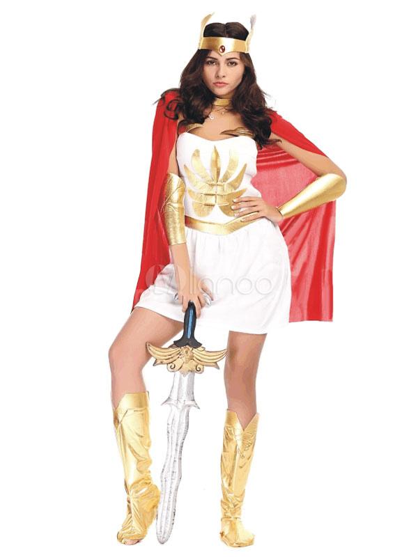 Vestido Branco Dia Das Bruxas Marte Traje Sexy Deusa Grega Cosplay Fantasia Feminina Com Xale Vermelho