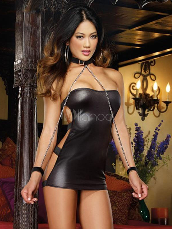 Buy Sexy Saloon Girl Costume Halloween Black PU Blackless Costumes For Women Halloween for $27.59 in Milanoo store