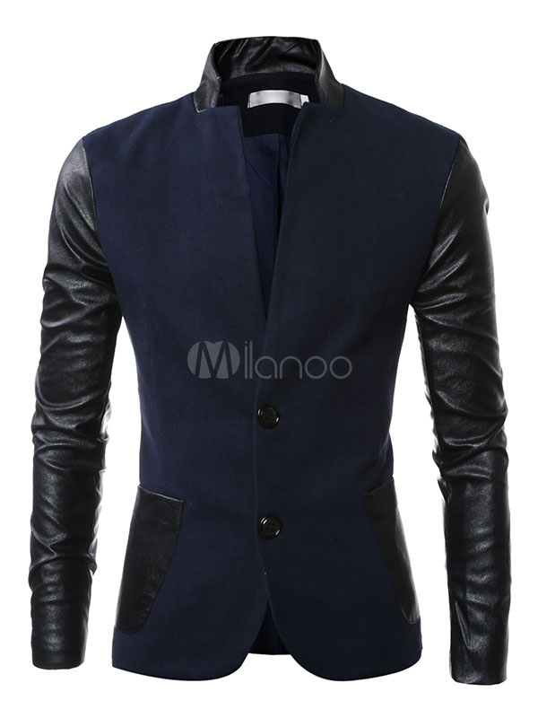 Buy Casual Men Blazer Cotton PU Splicing High Collar Suit Jacket Two Pocket Button Blazer For Men for $43.99 in Milanoo store
