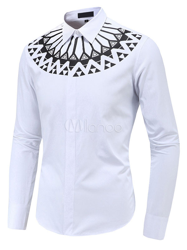 Long Sleeve Shirt Men's White Spread Collar Front Button Printed Casual Shirt