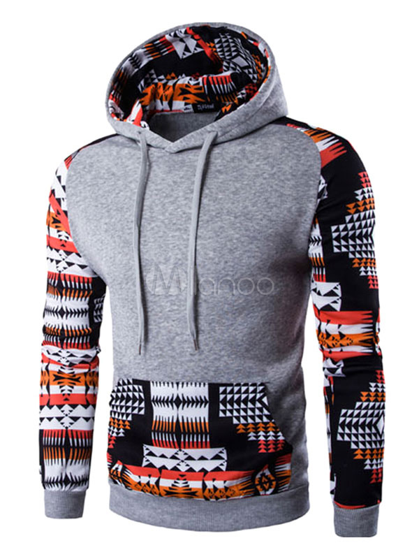 Men's Pullover Hoodie Tribal Printed Long Sleeve Cotton Hoodie With Pocket