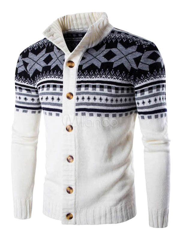 White Cardigans Button High Collar Casual Knitwear
