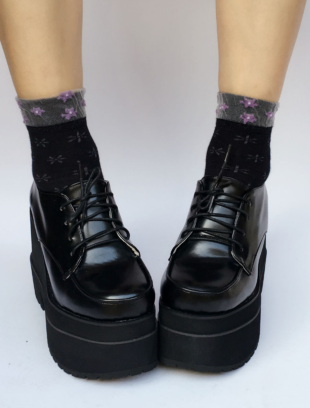 Lolita Platform Shoes Black Chunky Heel Square Toe Lace Up Lolita Pumps