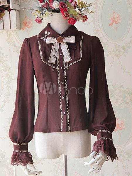 Chocolate Chiffon Lolita Blouse Long Sleeves Sweet Lolita Blouse