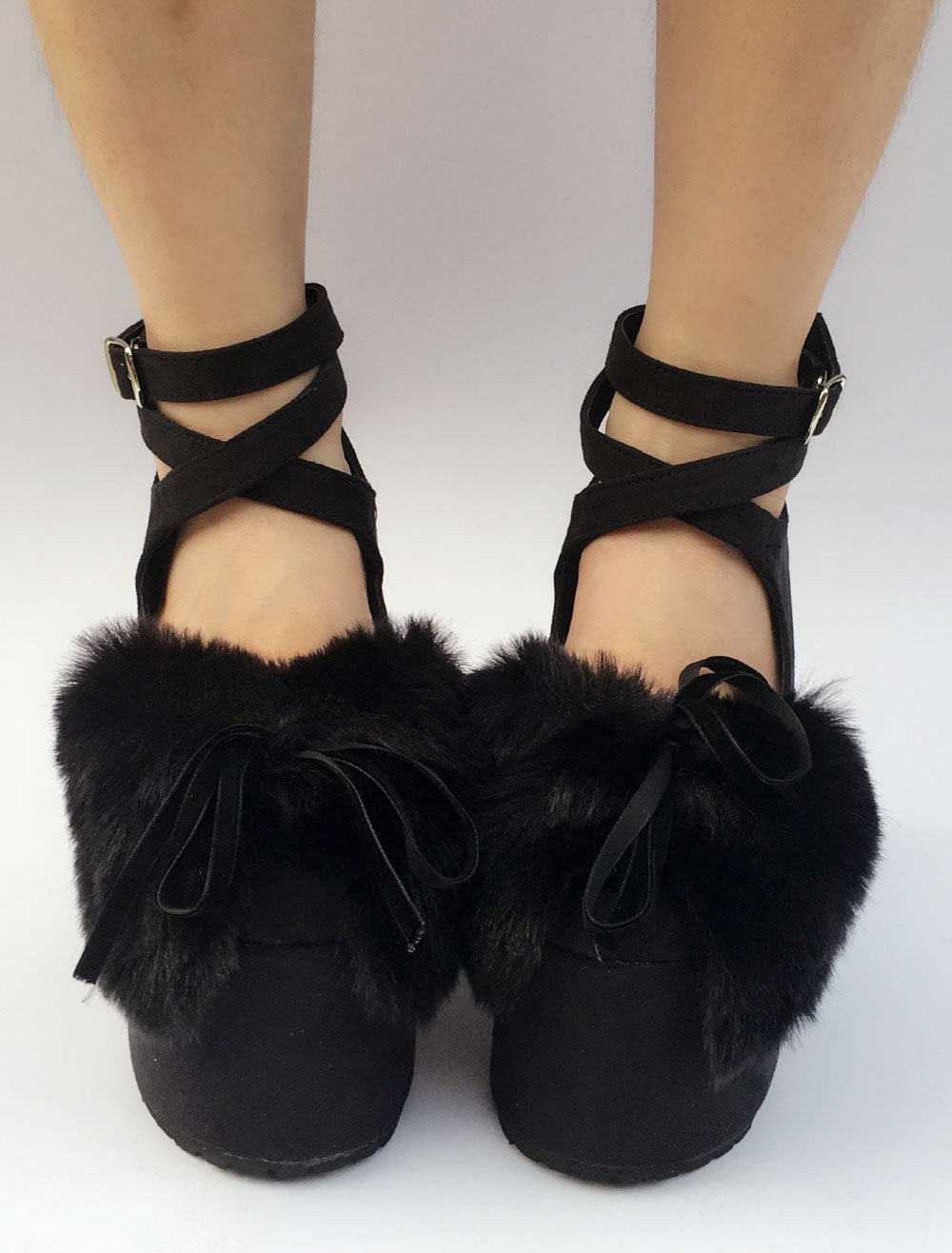 Buy Suede Lolita Shoes Black Platform Chunky Heel Faux Fur Bow Cross Front Ankle Strap Lolita Pumps for $96.99 in Milanoo store