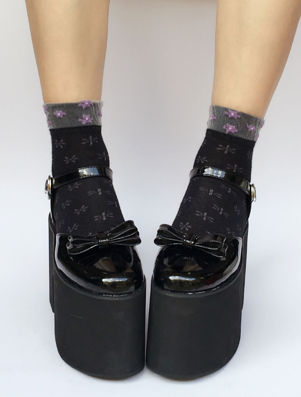 Platform Lolita Shoes Black Chunky Heel Ankle Strap Lolita Pumps With Bow