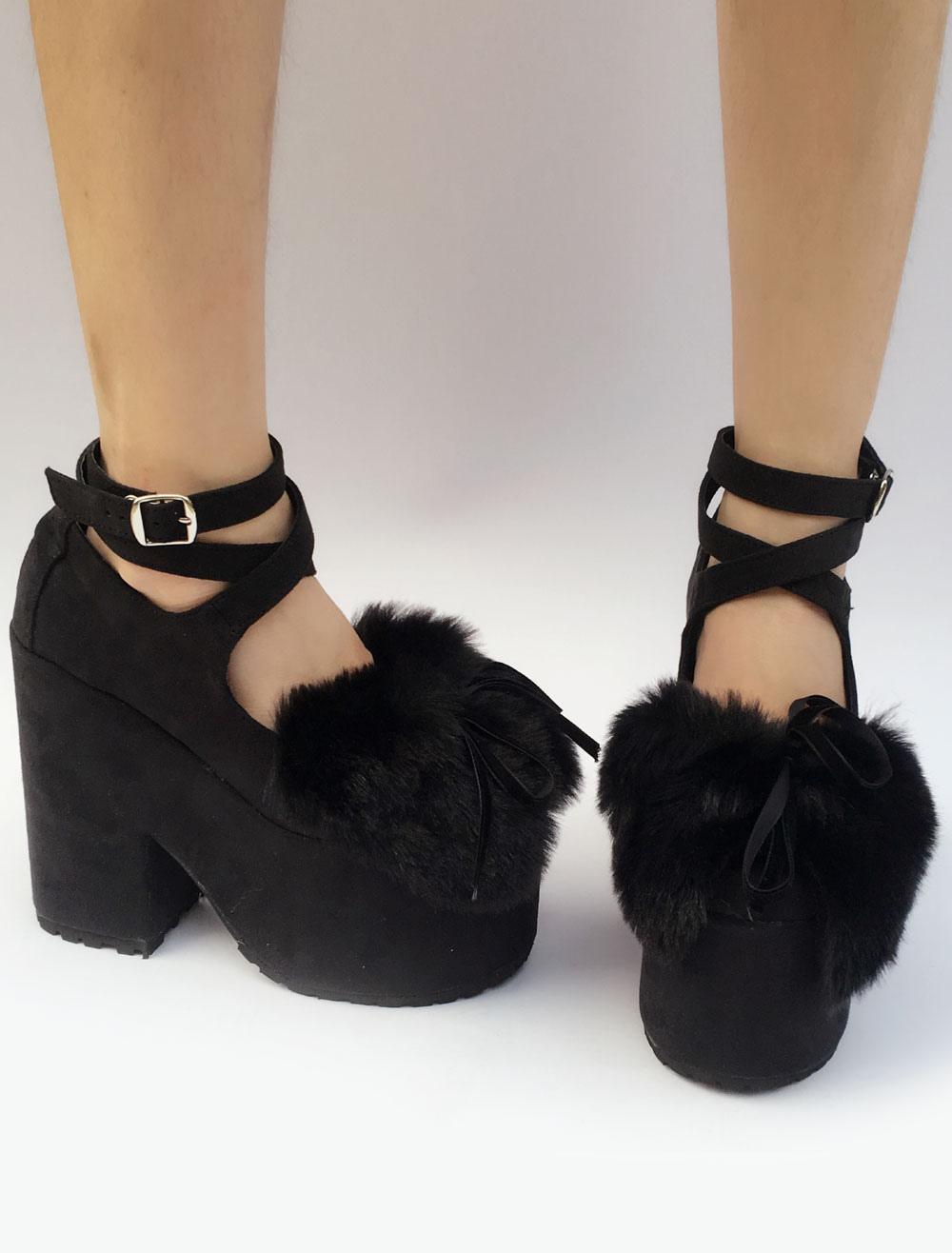Zapatos de plataforma Lolita negro tobillo correa Lolita de tacón grueso con el arco OygDhyQum