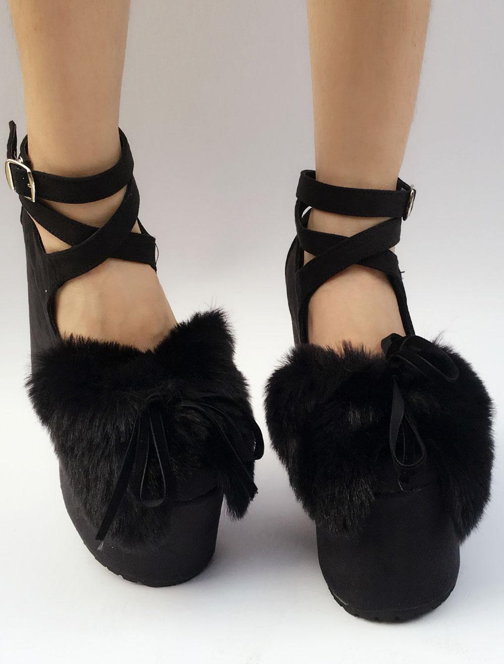 Ante Lolita zapatos negros plataforma tacón grueso piel sintética arco Cruz tobillo frontal correa Lolita bombas IngmxNVV