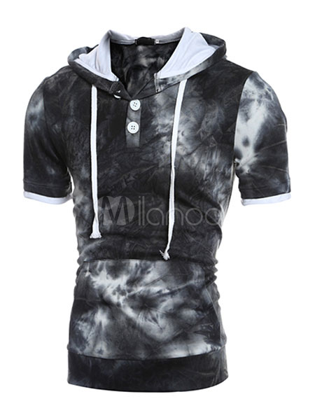 Short Sleeve Hoodie Men's Cotton Shaping Hooded T-shirt