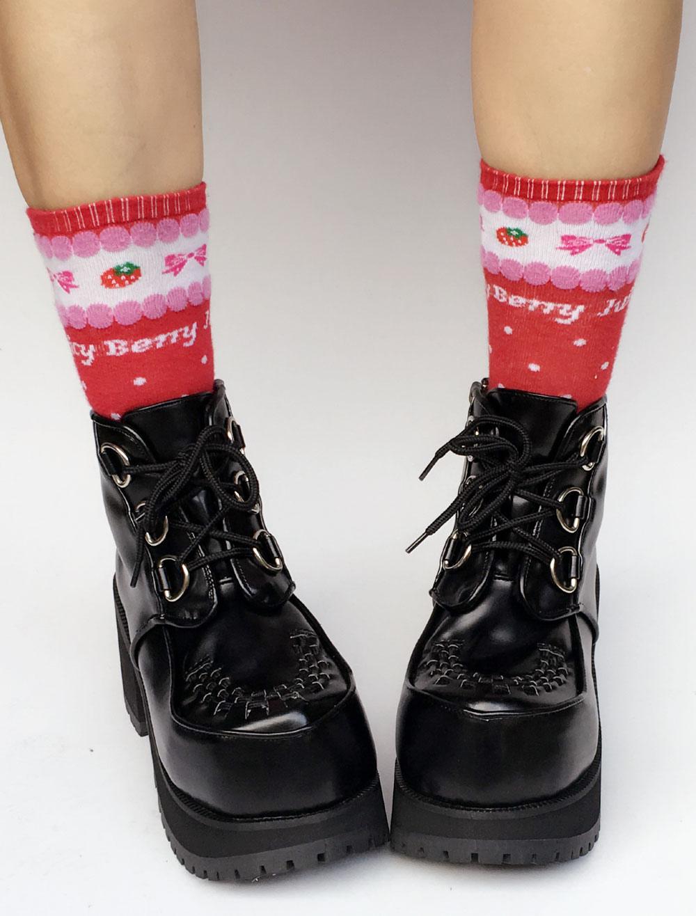 Black Lolita Boots Platform Chunky Heel Diamond Point Toe Lace Up Lolita Short Boots