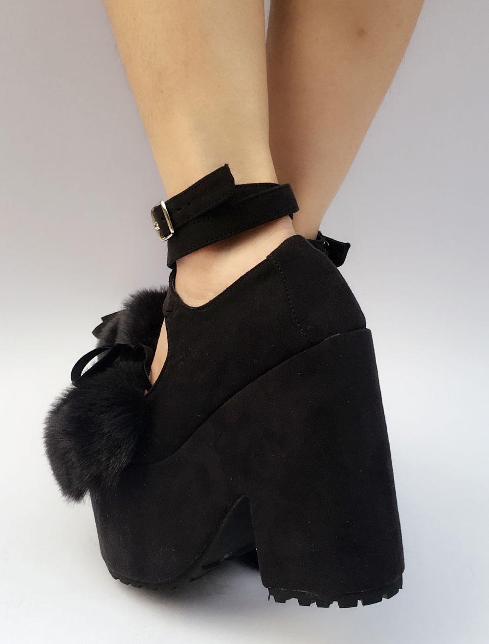 Ante Lolita zapatos negros plataforma tacón grueso piel sintética arco Cruz tobillo frontal correa Lolita bombas s2rsB