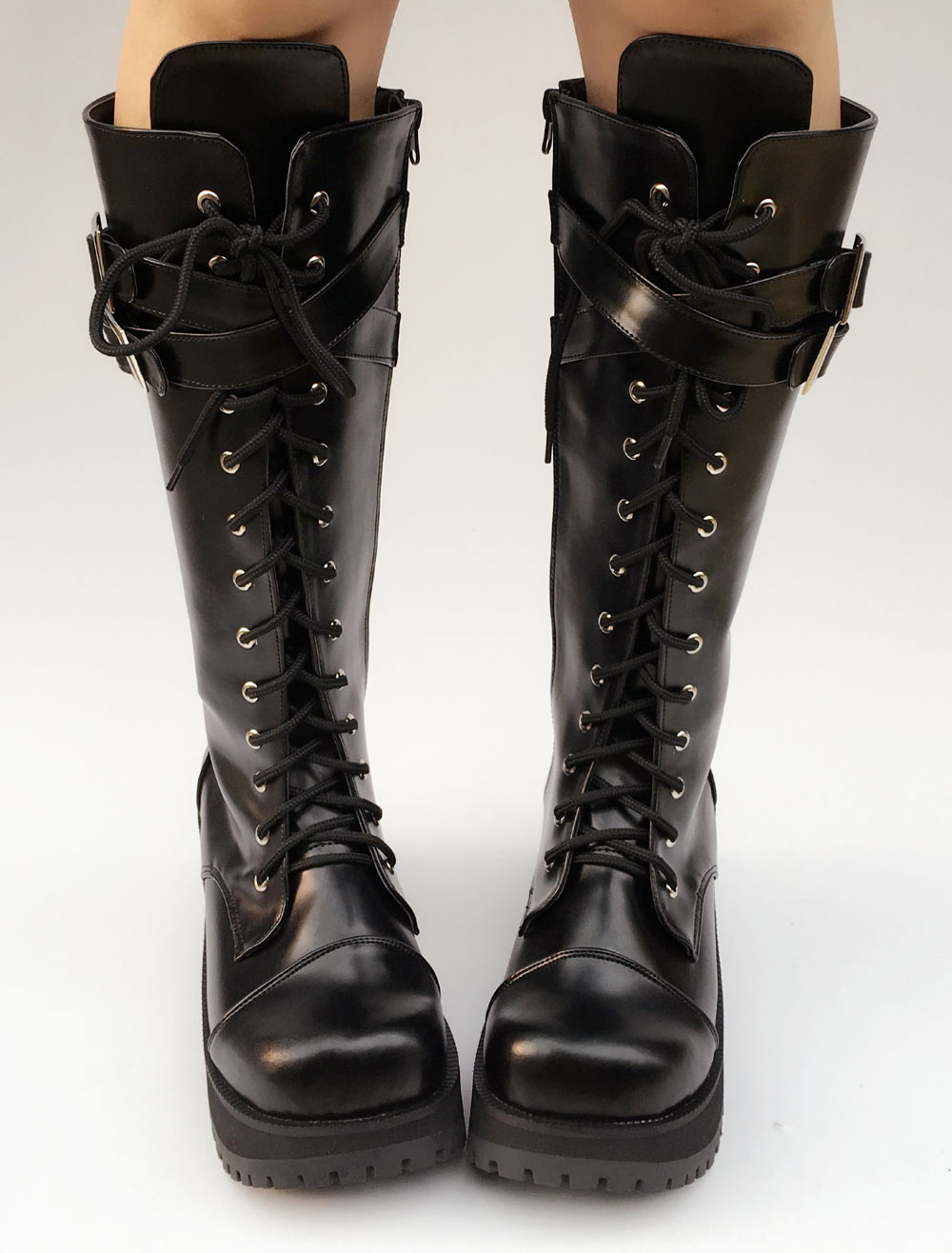 Black Lolita Boots Platform Chunky Heel Lace Up Cross Front Buckle Round Toe Lolita Short Boots