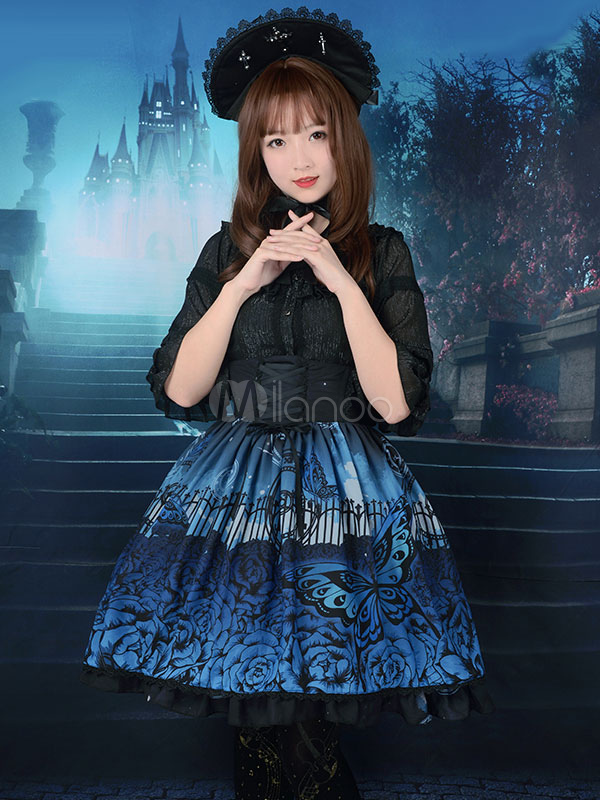 Buy Gothic Lolita Dress SK Butterfly In The Cemeteries Printed Chiffon Lace Up Ruffle Lolita Skirt for $85.49 in Milanoo store