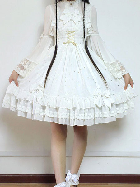 Buy Sweet Lolita Dress JSK Fly Me To Polaris White Chiffon Bow Ruffled Lace Up Lolita Jumper Skirt for $149.39 in Milanoo store