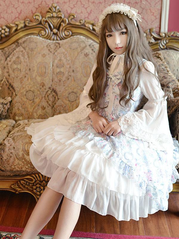 Buy Classic Lolita Dress JSK Antique Clock Printed Chiffon Ruffled Bow Layered Lolita Jumper Skirt for $220.49 in Milanoo store