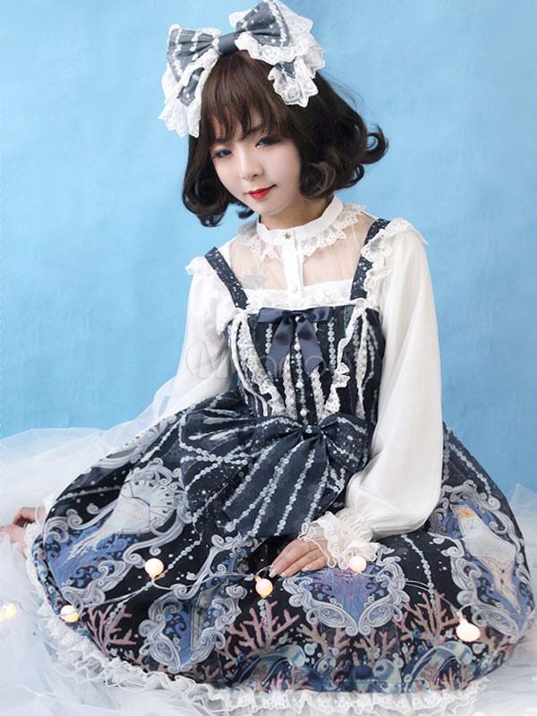 Buy Sweet Lolita Dress JSK Crystal Palace Organza Printed Bow Ruffled Lace Lolita Jumper Skirt for $177.99 in Milanoo store