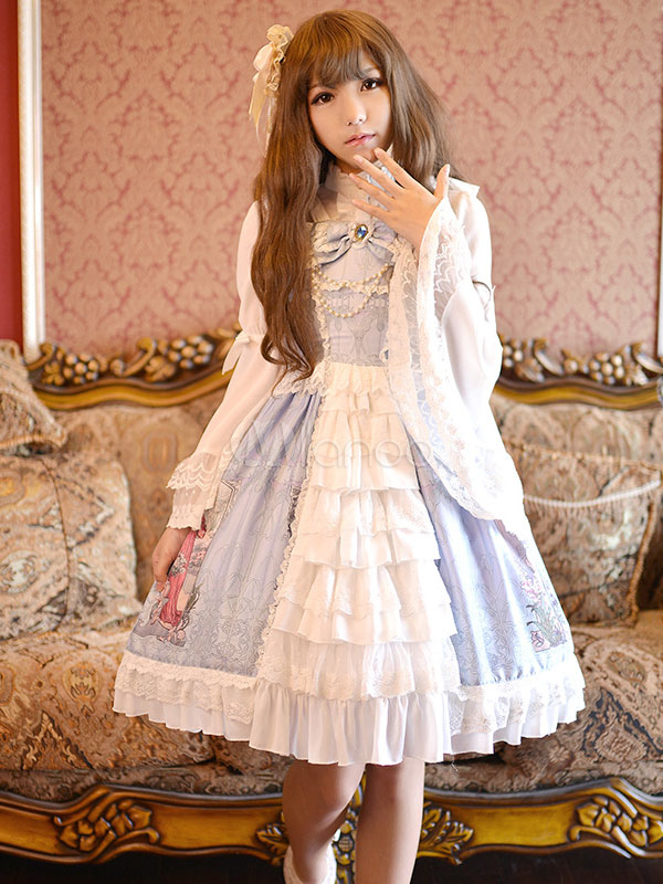 Buy Sweet Lolita Dress JSK May Maid Printed Lace Bow Ruffled Lace Up Lolita Jumper Skirt for $189.99 in Milanoo store