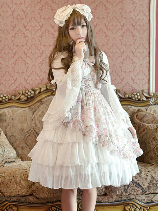 Classic Lolita OP Dress Lace Ruffle Pleated Chiffon White