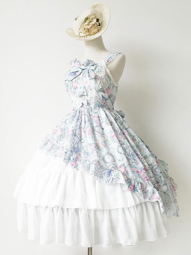 クラシカル系ロリータ ドレス ジャンパー スカート アンティーク時計プリント シフォン フリル付き弓層状ジャンパー スカート