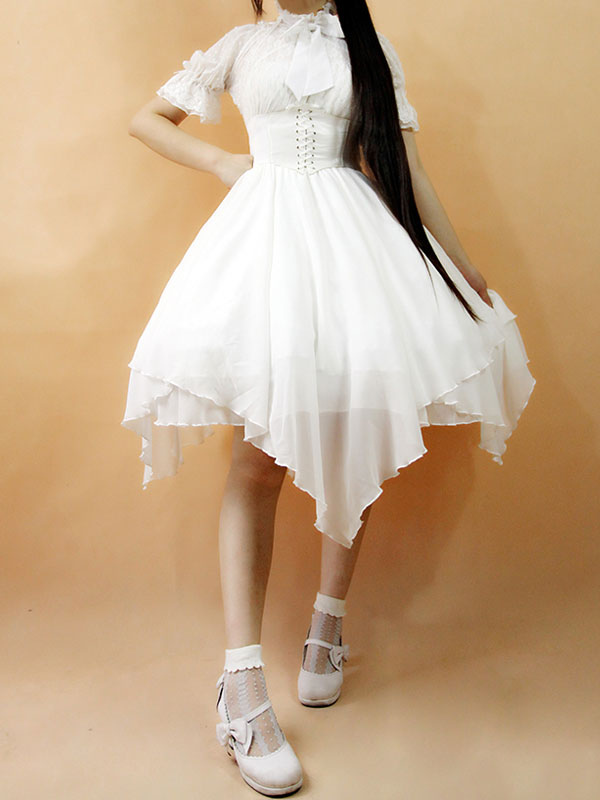 Buy Gothic Lolita Dress JSK The Dawn White Chiffon Lace Bow Haltered Lace Up Irregular Lolita Jumper Skirt for $101.59 in Milanoo store