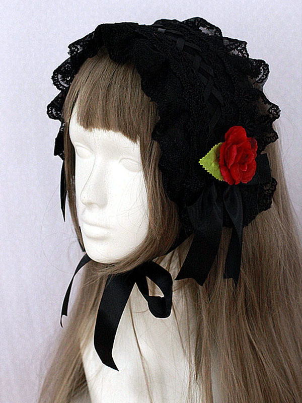 Buy Gothic Lolita Headband The Girl Picking Up Flowers Black Lace Headgear With Flowers for $25.19 in Milanoo store