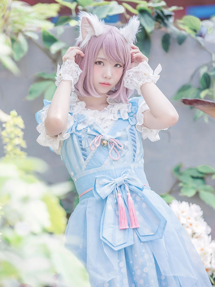 Buy Sweet Lolita Dress JSK Fortune Cat Printed Light Blue Bow Ruffled Lace Up Lolita Jumper Skirt With Tassel for $171.89 in Milanoo store