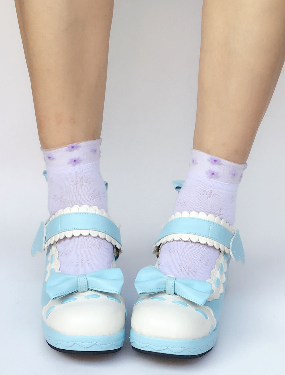 Cute Lolita Shoes Sweet Light Blue Round Toe Platform Wedge Two Tone Bow Lolita Pumps