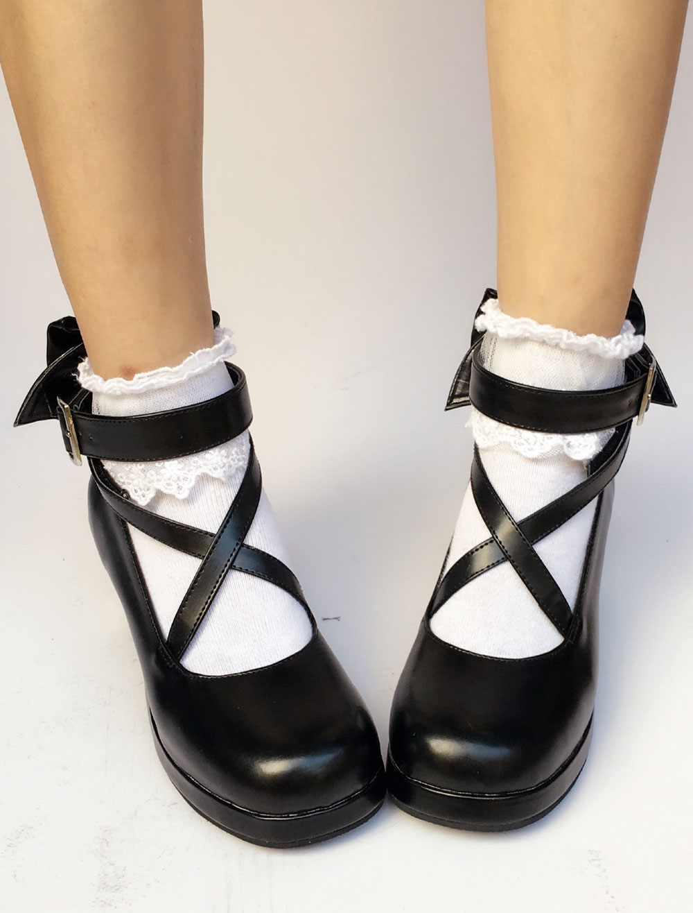 Black Lolita Shoes Round Toe Chunky Heel Cross Front Ankle Strap Bow Lolita Pumps