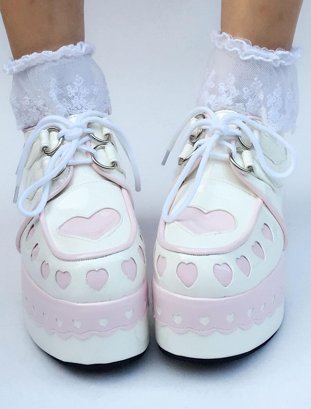 Sweet Lolita Shoes Platform Wedge Lace Up Heart Round Toe Lolita Footwear