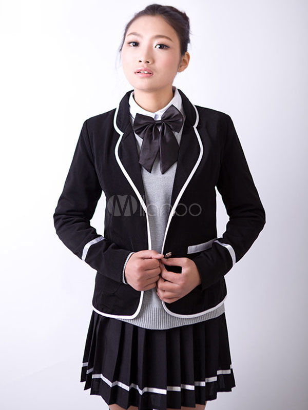 Buy Anime School Girl Uniform Black British School Uniform Suit Halloween for $48.99 in Milanoo store