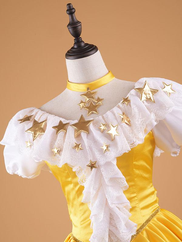 CARDCAPTOR SAKURA KINOMOTO SAKURA Golden Star Cosplay Costume Princess Dress