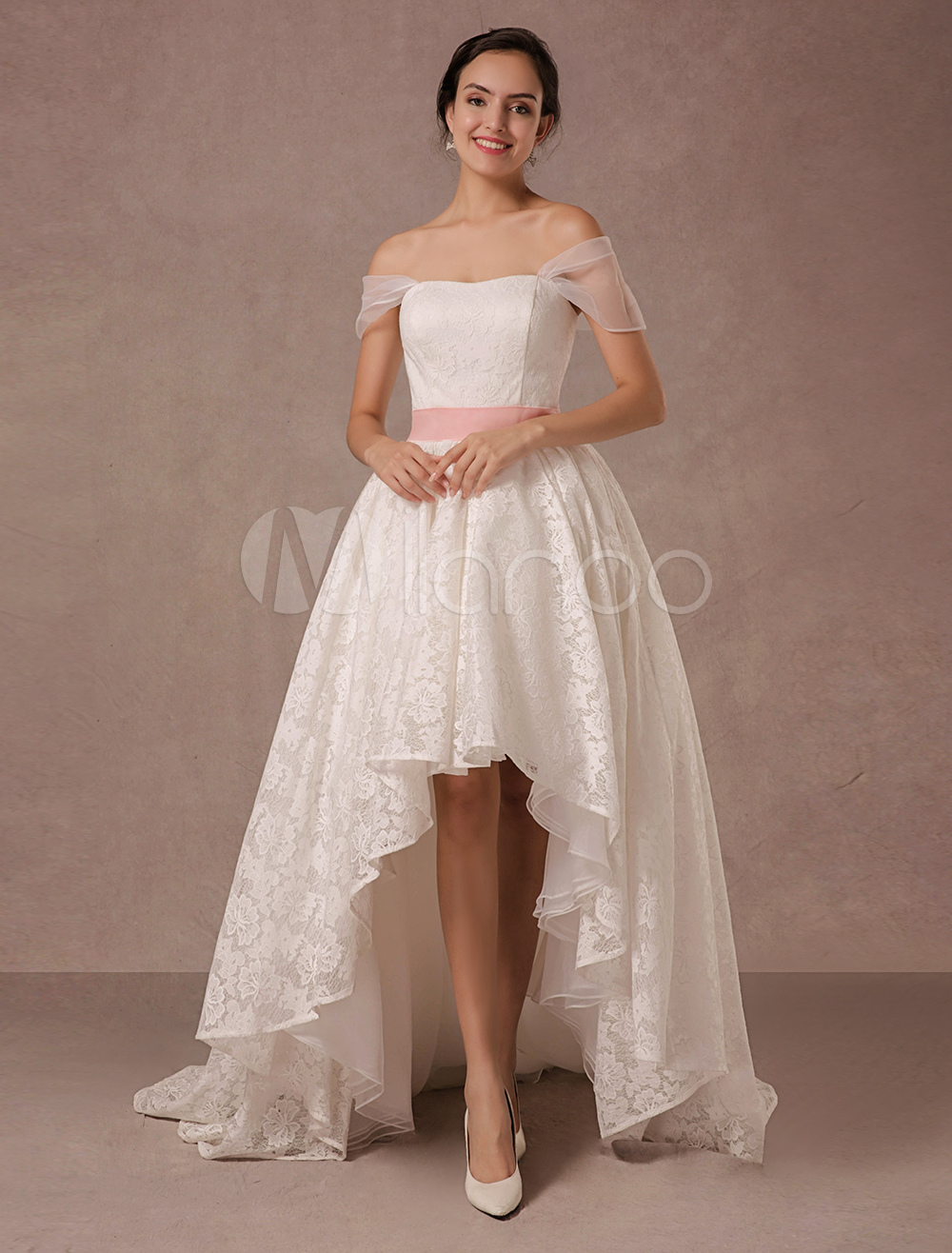 Robe de mari e courte devant longue derri re vente de gros for Free wedding dresses low income