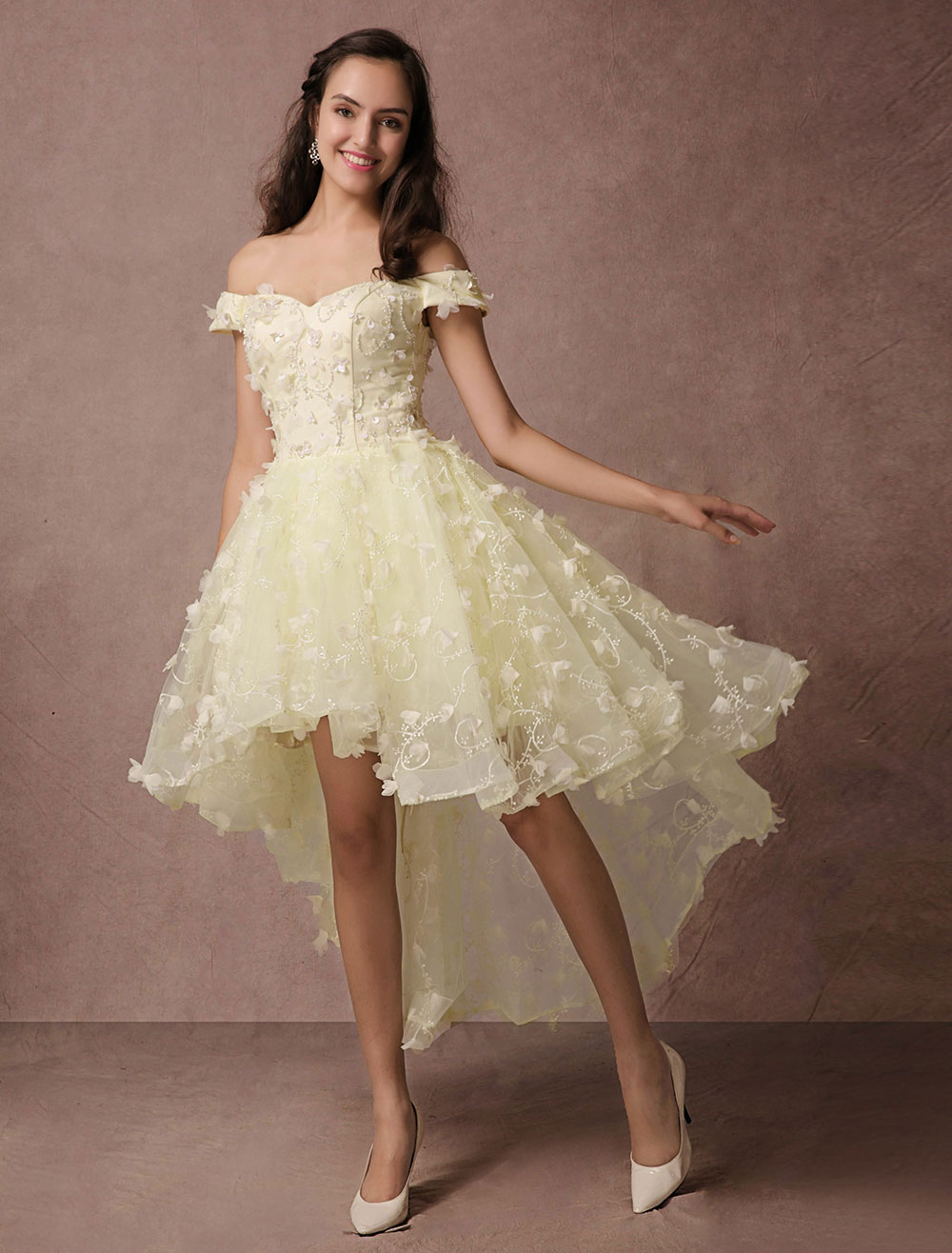 90be75e4a59 High-low Prom Dress Lace Beading Off-the-shoulder Homecoming Dress Backless 3D  Flower Applique Cocktail Dress - Milanoo.com