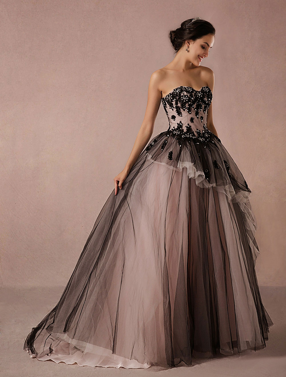 eagle Wash windows exciting  Matrimonio Nero Tulle cappella treno abito da sposa senza spalline  Sweetheart a-line Principessa di lusso Pageant vestito pizzo - Milanoo.com