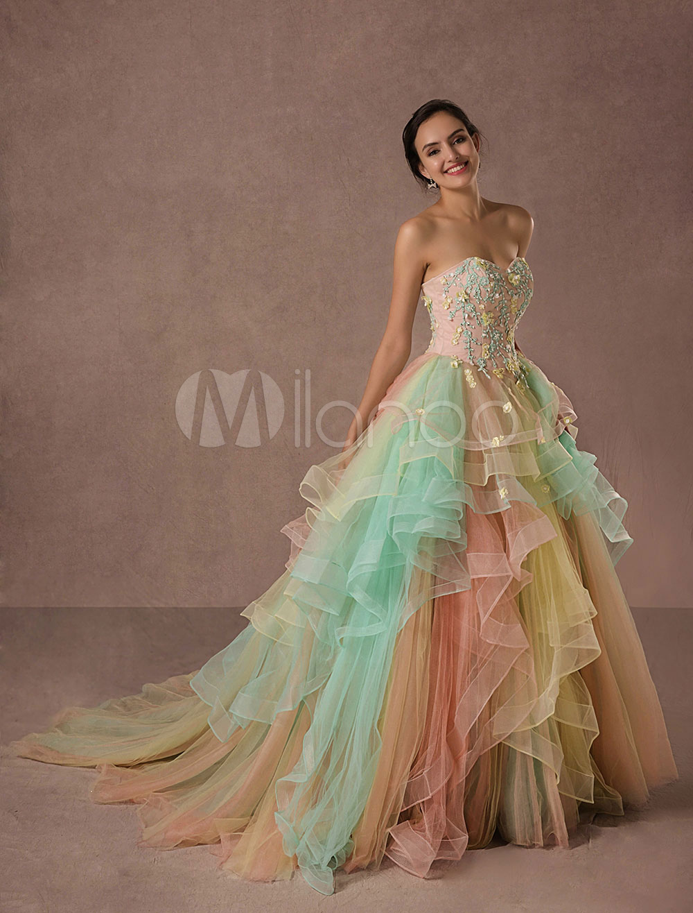 Rainbow Quinceanera Dress Tulle Lace Pageant Dress Applique Beading A-line Luxury Princess Dress With Chapel Train