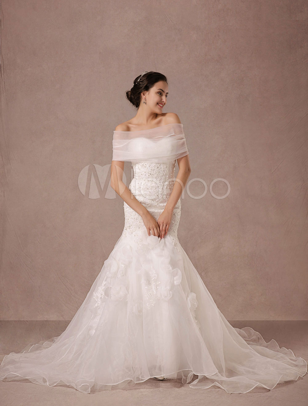 Mermaid Wedding Dress Lace Beading Chaple Train Bridal Gown With Detachable Organza Wrap And Flower Applique Milanoo