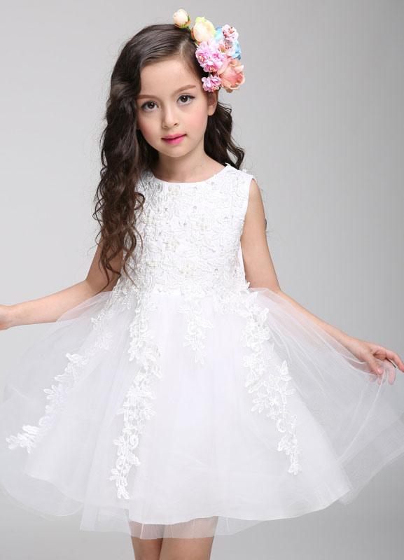 ae8355df711f ... Vestito da di principessa fiore ragazza vestito pizzo Tulle ginocchio  lunghezza perline infante spettacolo-No ...