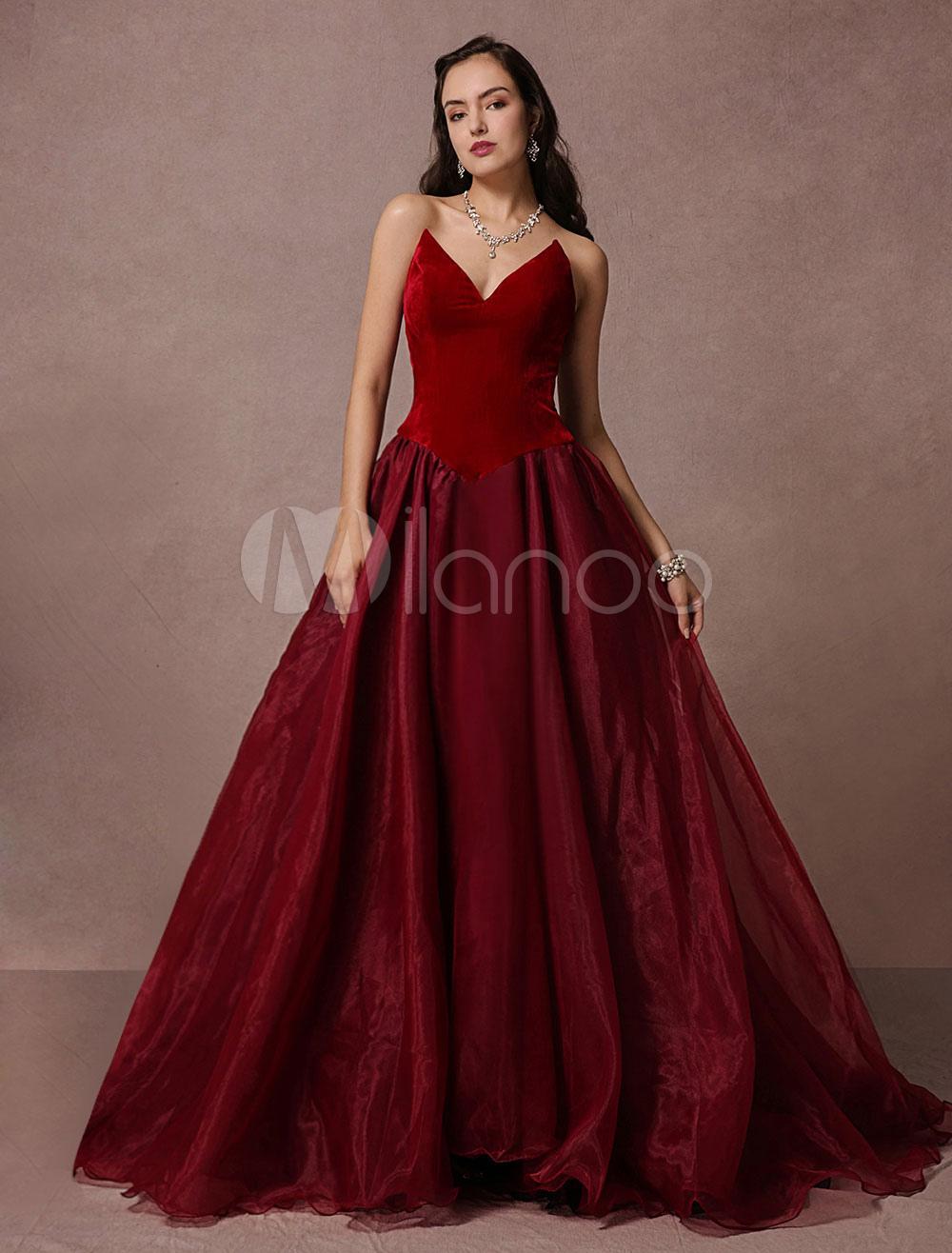 abendkleider v-ausschnitt hochzeit a-linie- günstige abendkleider organza  formelle kleider ärmellos burgunderrot mit court-schleppe
